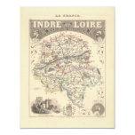 Mapa 1858 del departamento de Indre y del Loira, Invitación 10,8 X 13,9 Cm