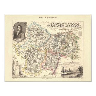 Mapa 1858 del departamento de Saone y del Loira, Invitación Personalizada