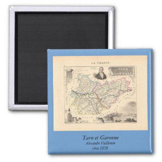 Mapa 1858 del departamento del Tarn y de Garona, Imán Cuadrado