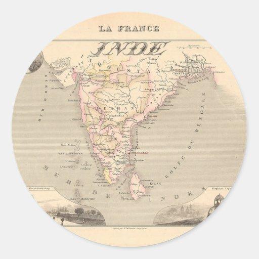Mapa 1858 del francés la India (Inde, Francia) Pegatina Redonda
