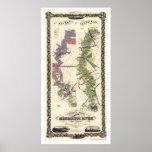 Mapa 1858 del río Misisipi Póster