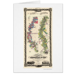 Mapa 1858 del río Misisipi Tarjeta De Felicitación