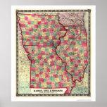 Mapa 1859 del ferrocarril de Illinois Iowa Missour Posters
