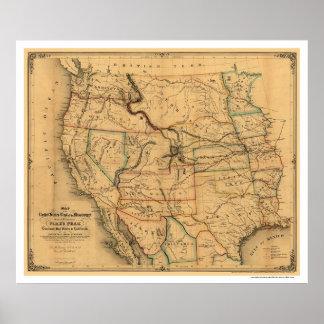 Mapa 1859 del ferrocarril de la ruta del correo poster
