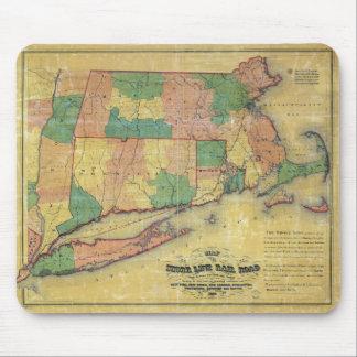 mapa 1860 de la línea ferrocarril de la orilla tapete de ratones