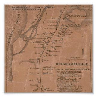 Mapa 1860 del pueblo de Bingham (Maine) Cojinete