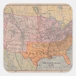 Mapa 1861 de la era de la guerra civil de los pegatina cuadrada