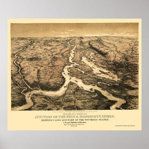 Mapa 1861 de Ohio y del río Misisipi Póster
