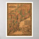 Mapa 1861 del ferrocarril de Nueva Inglaterra Poster