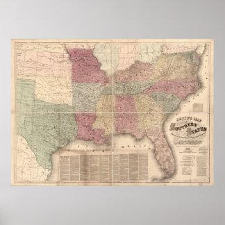 Mapa 1862 de los estados sureños de América Poster