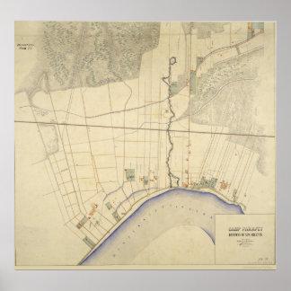 Mapa 1863-64 de Luisiana del parapeto del campo Posters
