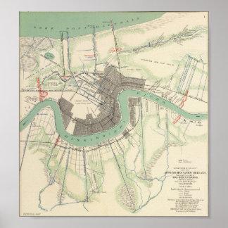 Mapa 1863 de la guerra civil de New Orleans Póster