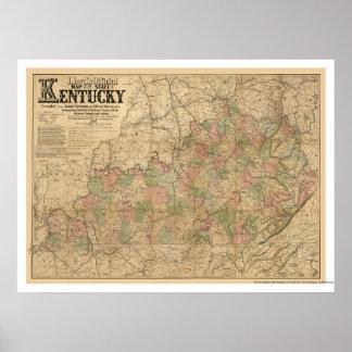 Mapa 1863 del ferrocarril de Kentucky Póster