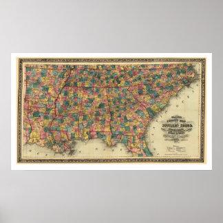 Mapa 1864 del ferrocarril de los estados sureños póster
