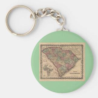 Mapa 1865 de Carolina del Sur Llavero Redondo Tipo Pin