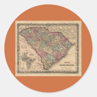 Mapa 1865 de Carolina del Sur Pegatina Redonda
