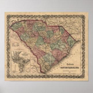 Mapa 1865 de Carolina del Sur Póster