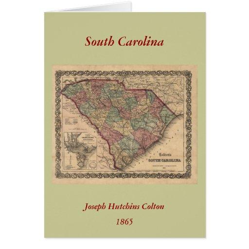 Mapa 1865 de Carolina del Sur Tarjeta De Felicitación