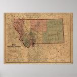 Mapa 1865 de Montana Posters