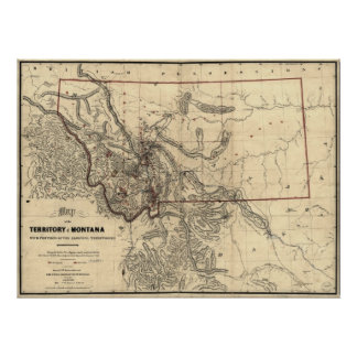 mapa 1865 del territorio de Montana Impresiones