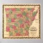 Mapa 1866 de Arkansas Poster