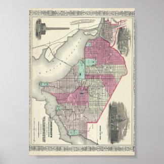 Mapa 1866 de Johnson de la C.C. de Washington Póster