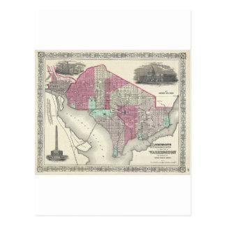 Mapa 1866 de Johnson de la C.C. de Washington Tarjetas Postales