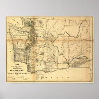 Mapa 1866 del territorio de Washington del vintage Póster