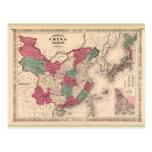 Mapa 1868 - China y Japón de Johnson Tarjetas Postales