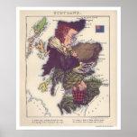 Mapa 1868 de la caricatura de Escocia Impresiones