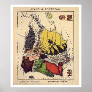 Mapa 1868 de la caricatura de España y de Portugal Impresiones