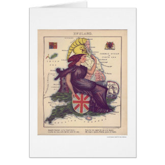 Mapa 1868 de la caricatura de Inglaterra Tarjeta De Felicitación