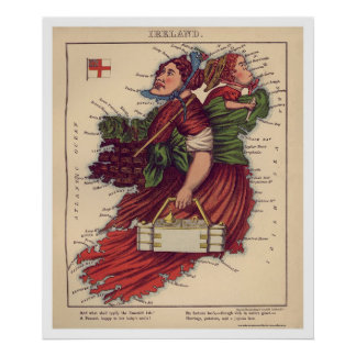 Mapa 1868 de la caricatura de Irlanda Poster