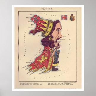 Mapa 1868 de la caricatura de País de Gales Impresiones