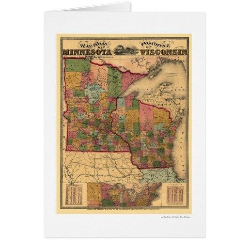 Mapa 1871 del ferrocarril de Minnesota y de Tarjeta De Felicitación