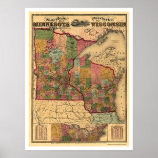 Mapa 1871 del ferrocarril de Minnesota y de Wiscon Póster