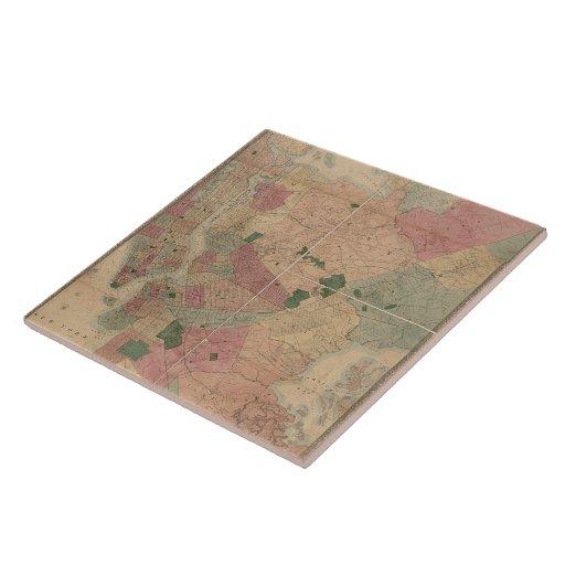 Mapa 1872 - New York City de Brooklyn del vintage, Tejas Ceramicas