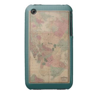 Mapa 1872 - New York City de Brooklyn del vintage, Carcasa Para iPhone 3