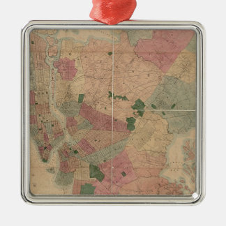 Mapa 1872 - New York City de Brooklyn del vintage, Ornamentos De Navidad