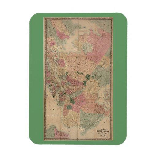 Mapa 1872 - New York City de Brooklyn del vintage, Imán Flexible