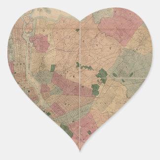Mapa 1872 - New York City de Brooklyn del vintage, Pegatina En Forma De Corazón