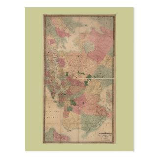 Mapa 1872 - New York City de Brooklyn del vintage, Postales