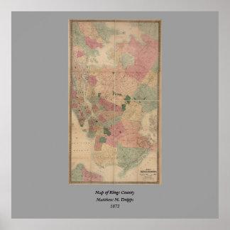 Mapa 1872 - New York City de Brooklyn del vintage, Póster