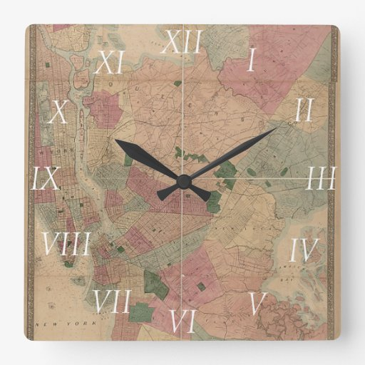 Mapa 1872 - New York City de Brooklyn del vintage, Reloj