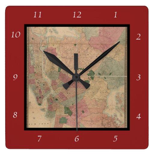 Mapa 1872 - New York City de Brooklyn del vintage, Reloj Cuadrado