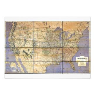Mapa 1873 de los Estados Unidos y de los territori Comunicados Personalizados