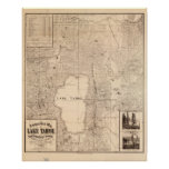 Mapa 1874 del área California y Nevada del lago Ta Poster