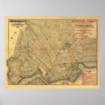 Mapa 1874 del carril de Brooklyn Poster