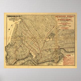 Mapa 1874 del carril de Brooklyn Póster
