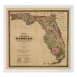 Mapa 1874 del ferrocarril de la Florida Poster